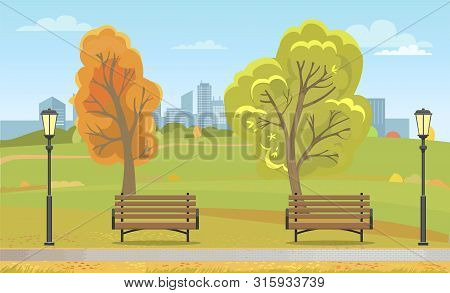 Autumn Park With Benches And Streetlight. Wooden Seats Along Path And Fall Leaves On Trees, Skyscrap