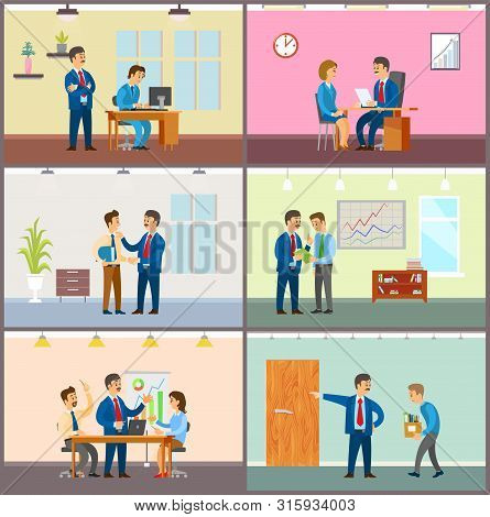 Supervisor Of Company With Novice, Boss In Office Vector. Director Monitoring New Worker By Computer