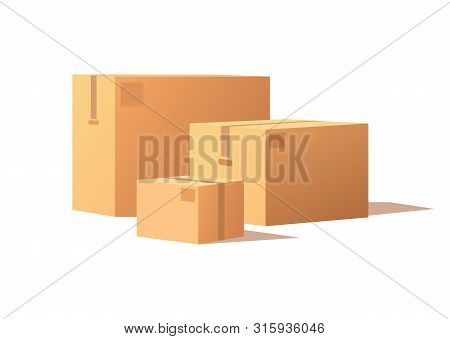 Carton Packs Vector Delivery Icons. Pile Of Parcel Boxes, Stacked Sealed Goods In Cardboard. Realist