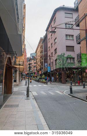 Andorra La Vella, Andorra - June 3, 2019: Small Street In City Center Of Andorra La Vella.