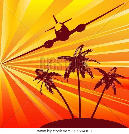 Tropical Travel, retro background for the holiday industry poster