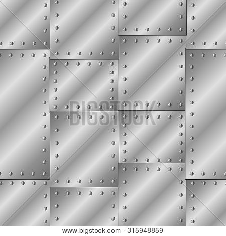 Seamless Vector Texture With Riveted Metal Sheets. You Can Create The Wallpaper With This Pattern, C