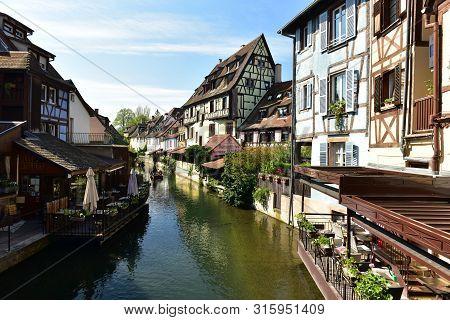 Colmar, France - April 18, 2019. The Little Venice Of Colmar - Is A Picturesque Old Tourist Area Wit