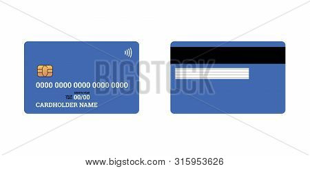 Bank Plastic Credit Or Debit Contactless Smart Charge Card Front And Back Sides With Emv Chip And Ma