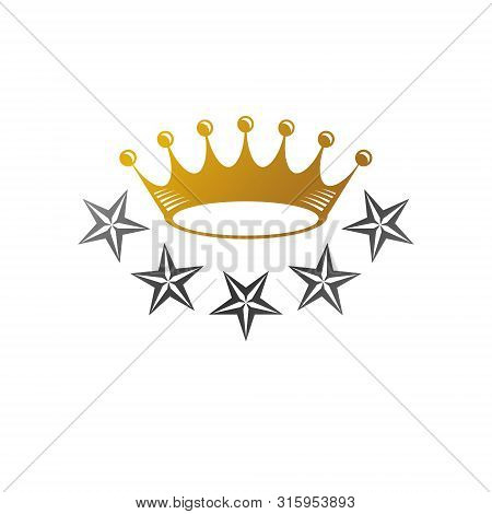 Majestic Crown, Pentagonal Star Vector Illustration. Heraldic Decorative Logo. Antique Logotype Isol