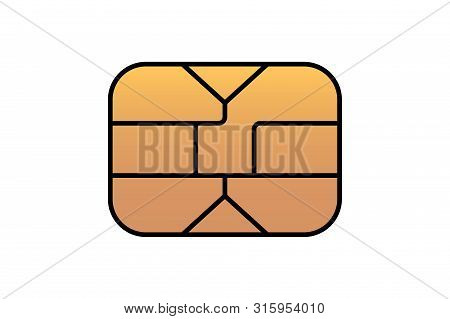 Gold Emv Chip Icon For Bank Plastic Credit Or Debit Charge Card. Vector Symbol Illustration