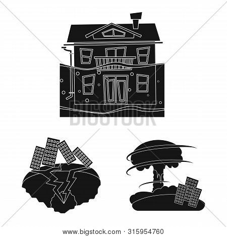 Vector Design Of Calamity And Crash Logo. Set Of Calamity And Disaster Stock Vector Illustration.