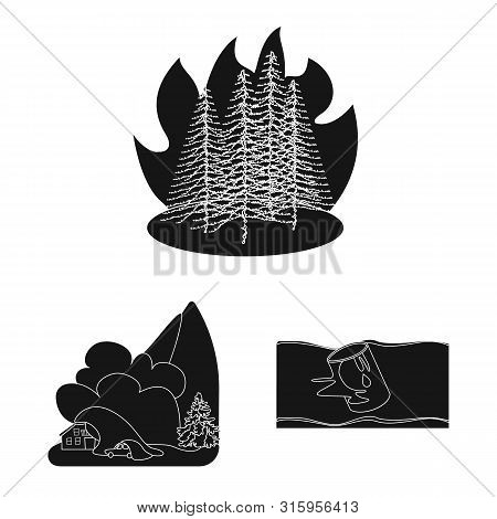 Vector Design Of Calamity And Crash Logo. Collection Of Calamity And Disaster Stock Symbol For Web.