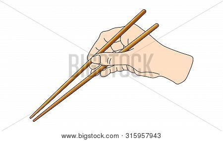 Hand Holding Sushi Sticks For Rolls. Scheme How To Keep Use Asian Chinese Japan Chopsticks Position