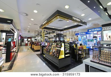 Madrid Spain - May 28, 2019: Unidentified People Visit El Corte Ingles Shopping Mall Serrano Madrid