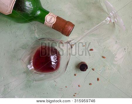Sediment In A Glass Of Old Wine. Sediment In Wine.