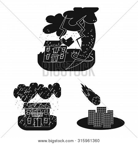 Isolated Object Of Calamity And Crash Logo. Collection Of Calamity And Disaster Stock Vector Illustr