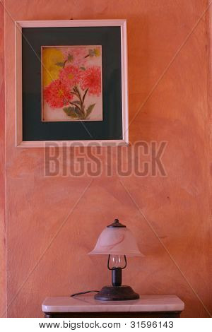 Lamp,framed Picture, Painted Wall In Countryside Style