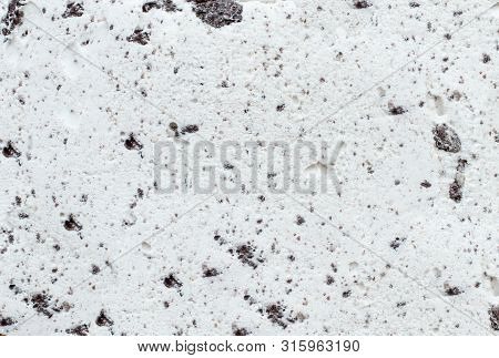 Flatlay View Of Cookies And Cream Ice Cream Background Texture.