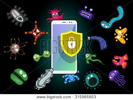 Mobile Protection. Smartphone With Security Shield And Infection Computer Virus Attack. Spam Data, F