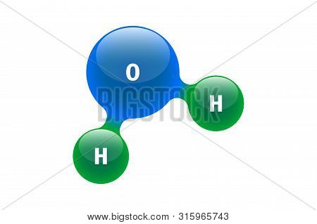 Chemistry Model Of Molecule Water H2o Scientific Elements. Integrated Particles Hydrogen And Oxygen