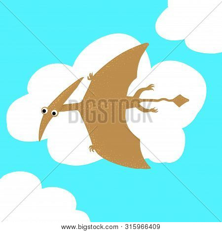Cute, Cartoon Dinosaur Pterosaur On The Background Of Bushes Of Tropical Palm Leaves. Vector Illustr