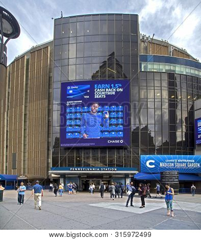 New York, New York/usa - June 25, 2019: Entrance To Pennsylvania Station And Madison Square Garden.