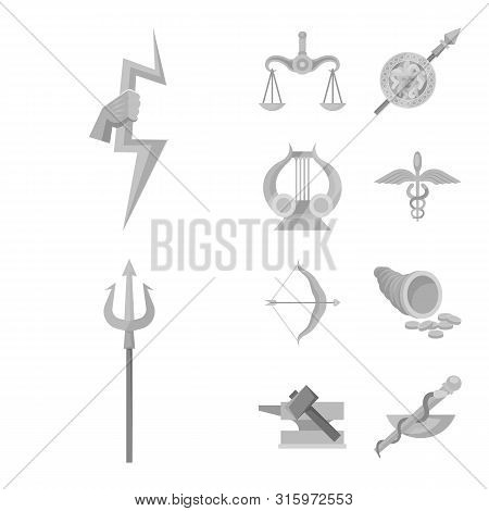 Isolated Object Of Ancient And Culture Sign. Set Of Ancient And Antique Stock Symbol For Web.