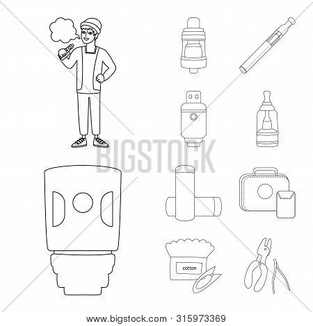 Isolated Object Of Nicotine And Filter Icon. Set Of Nicotine And Pipe Stock Vector Illustration.