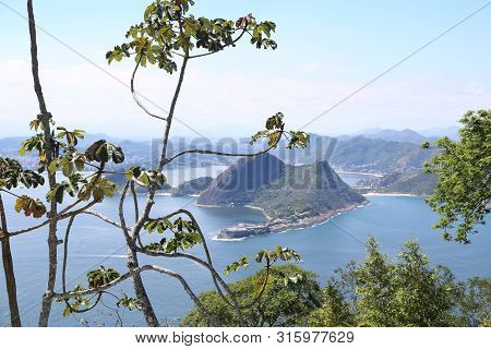 Aerial View Of The Sea And Islands. At The Foreground Tress And Green Vegetation.  Niteroi View From