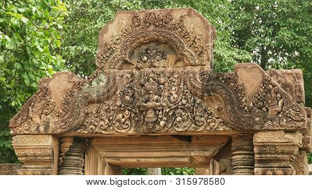 Intricately Carved Stone Pediment At Banteay Srei Temple