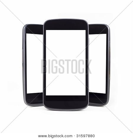Multiple Smart Phones Over White - Blank