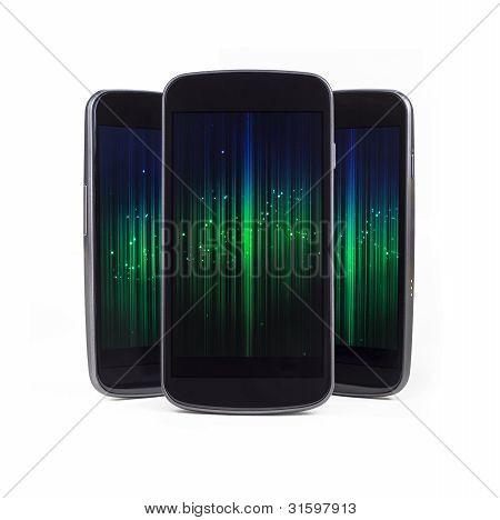 Multiple Smart Phones Over White