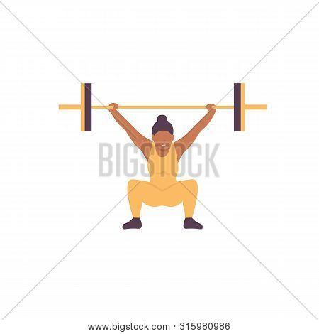 Athlet Woman Lifting Barbell. Gym Workout With Sport Barbell, Weightlifting And Bodybuilding, Fitnes