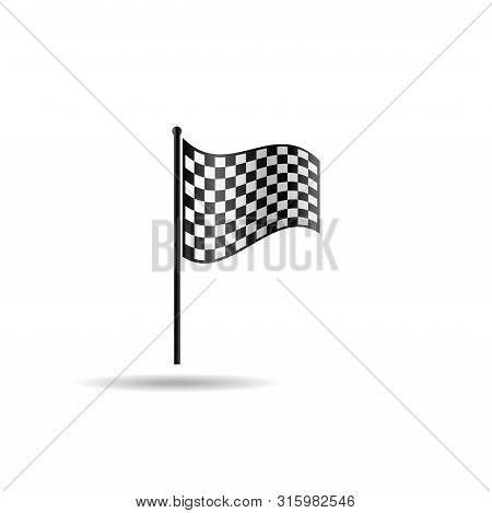 Checkered Flag Vector, Racing Flag Vector, Start Flag Symbol, Black And White Flag, Checkered Flag I