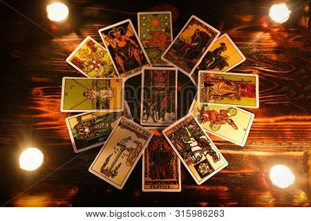 Tarot Cards For Tarot Readings Psychic As Well As Divination With Candle Light / Fortune Teller Read