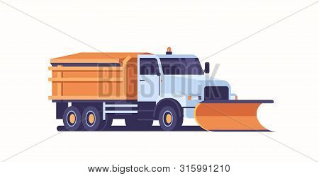 Spreading Salt On Highway Gritter Snow Plow Truck Icon Professional Cleaning Road Vehicle Winter Sno