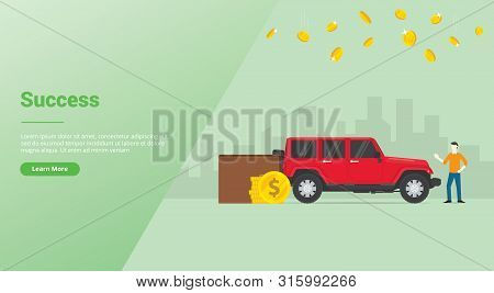 Success Rich Man Or Successfull Businessman With Lux Car And Money With City As Background With Mode