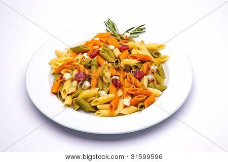 tricolor pasta dish