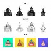Vector design of cult and temple icon. Set of cult and parish vector icon for stock. poster