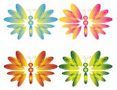 Four butterflies , vector , used gradient. poster