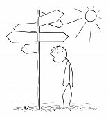 Vector cartoon stick figure drawing conceptual illustration of exhausted and thirsty man walking on hot desert and found empty signpost showing in many directions. poster