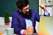 Male teacher preparing for university exam. Exam in college. School student. Bearded male student in glasses. Student preparing for test or exam. Angry university student near chalkboard in classroom poster