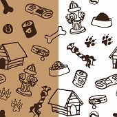 A seamless vector pattern of dog supplies in two styles. poster
