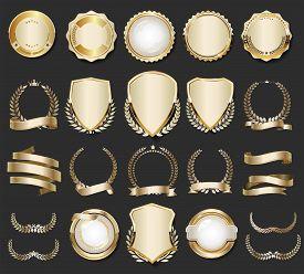 Gold, Badge, Golden, Label, Premium, Luxury, Quality, Design, Emblem, Tag, Sticker, Collection, Set,