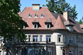 Portland, Oregon - Jun 12: Pittock Mansion In Portland, Oregon, As Seen On Jun 12, 2019. The Mansion