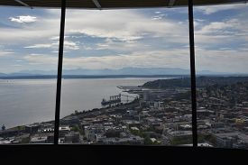 Seattle, Wa - Jul 12: Observation Deck At Space Needle In Seattle, Washington, On July 12, 2019. The