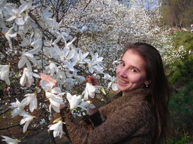 Girl And White Magnolia Flowers