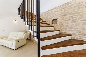 Living Room Interior With Wooden Brown  Stairway