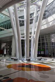 San Francisco, California - August 04, 2019: Salesforce Transit Center Lobby Interior.