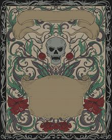 Invitation To Halloween Night Party. Vintage Card With Creepy Skull, Ribbons And Gothic Ornament. El