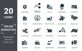 Online Marketing Icon Set. Contain Filled Flat Email Marketing, Mobile Marketing, Statistics, Search
