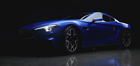 Modern blue coupe sports car in a gentle light on black background. 3D illustration