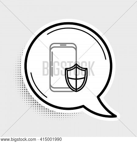 Line Smartphone, Mobile Phone With Security Shield Icon Isolated On Grey Background. Security, Secur
