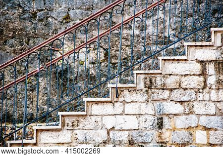 Kotor, Montenegro. Old Stairs At The Streets Of Old Medieval Town Kotor, Montenegro
